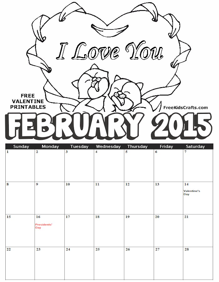 Image of 2015 February Coloring Calendar