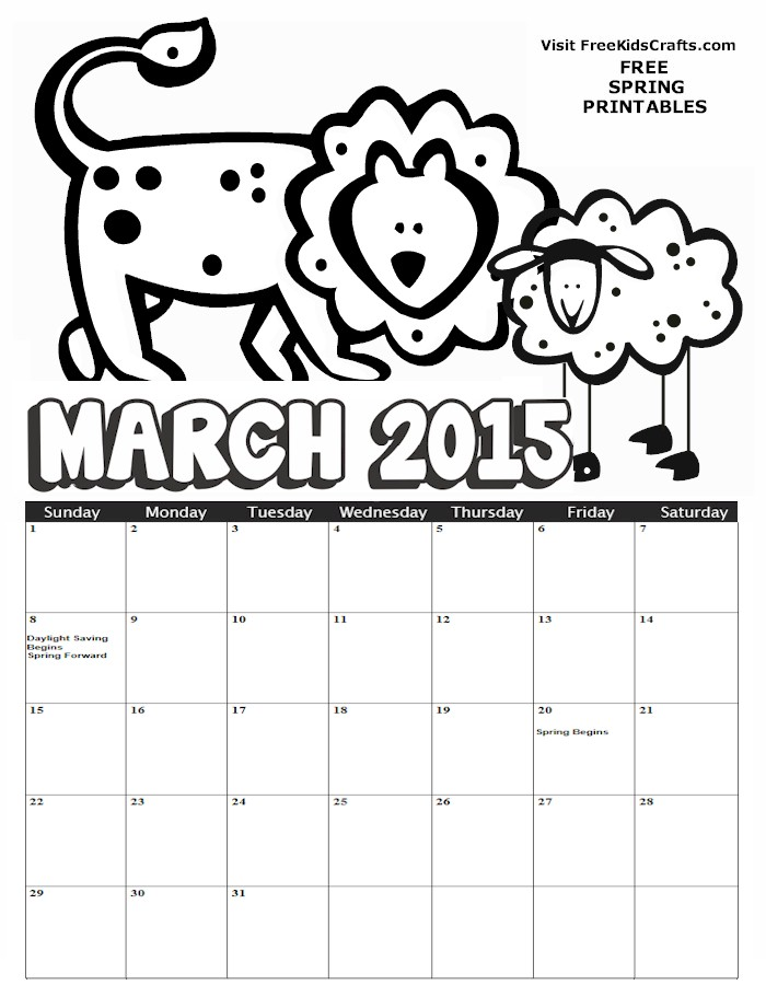 Image of 2015 March Coloring Calendar