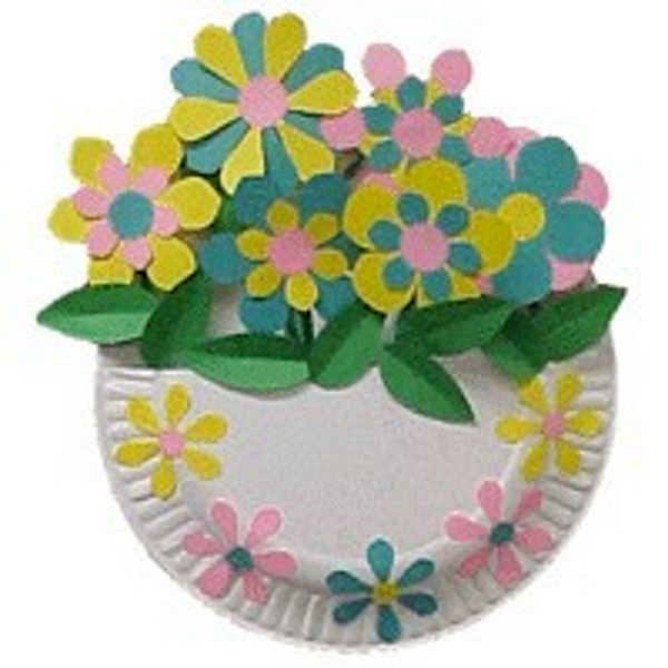 Paper Plate Flower Basket Craft