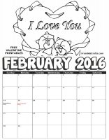 Image of 2016 February Coloring Calendar