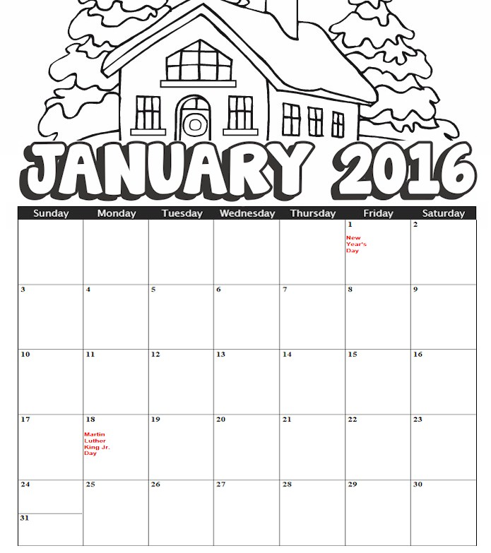 january coloring pages free printable - calendars