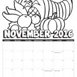 2016 November Coloring Calendar