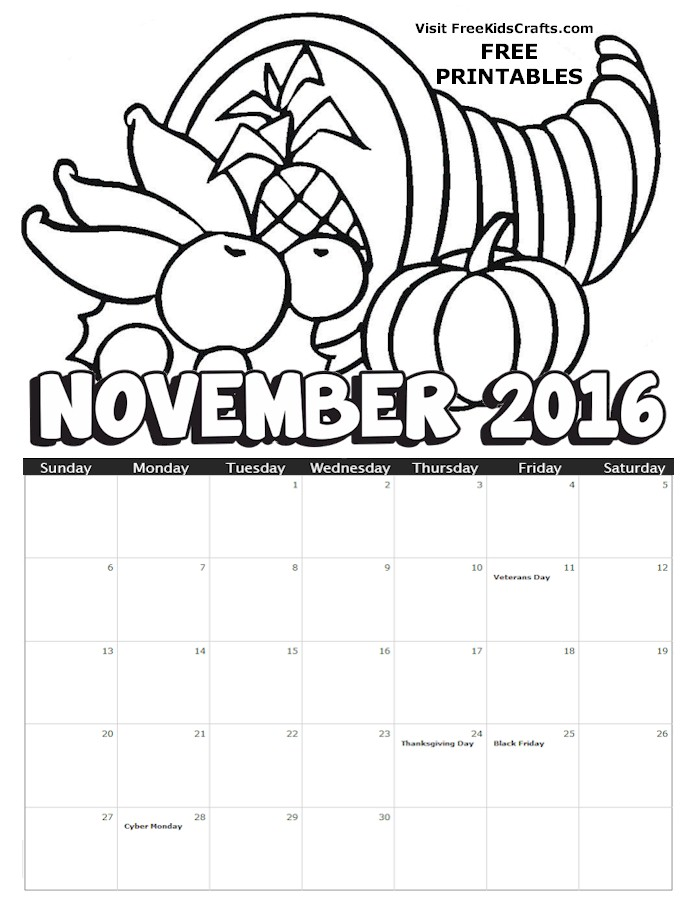 Image of 2016 November Coloring Calendar