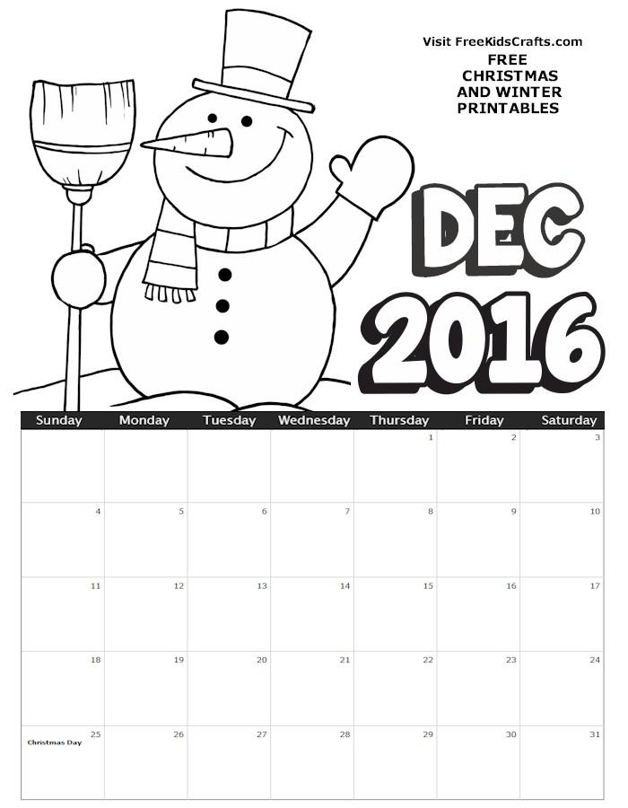 2016 December Coloring Calendar