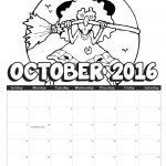 2016 October Coloring Calendar
