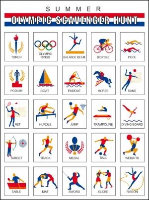 Free Printable scavenger hunt using olympic symbols
