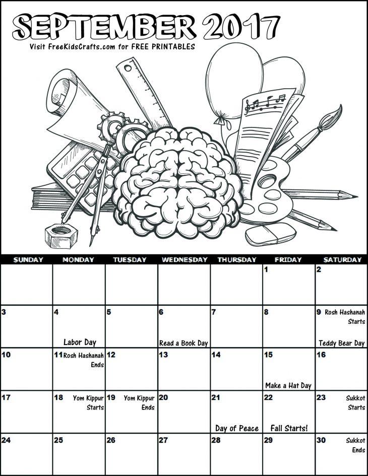 2017 September Coloring Calendar