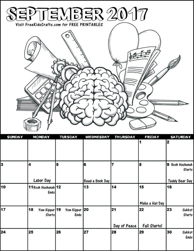 Printable 2017 September Coloring Calendar