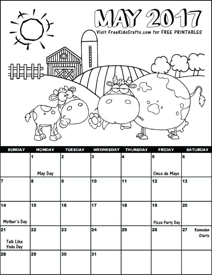 2017 May Coloring Calendar