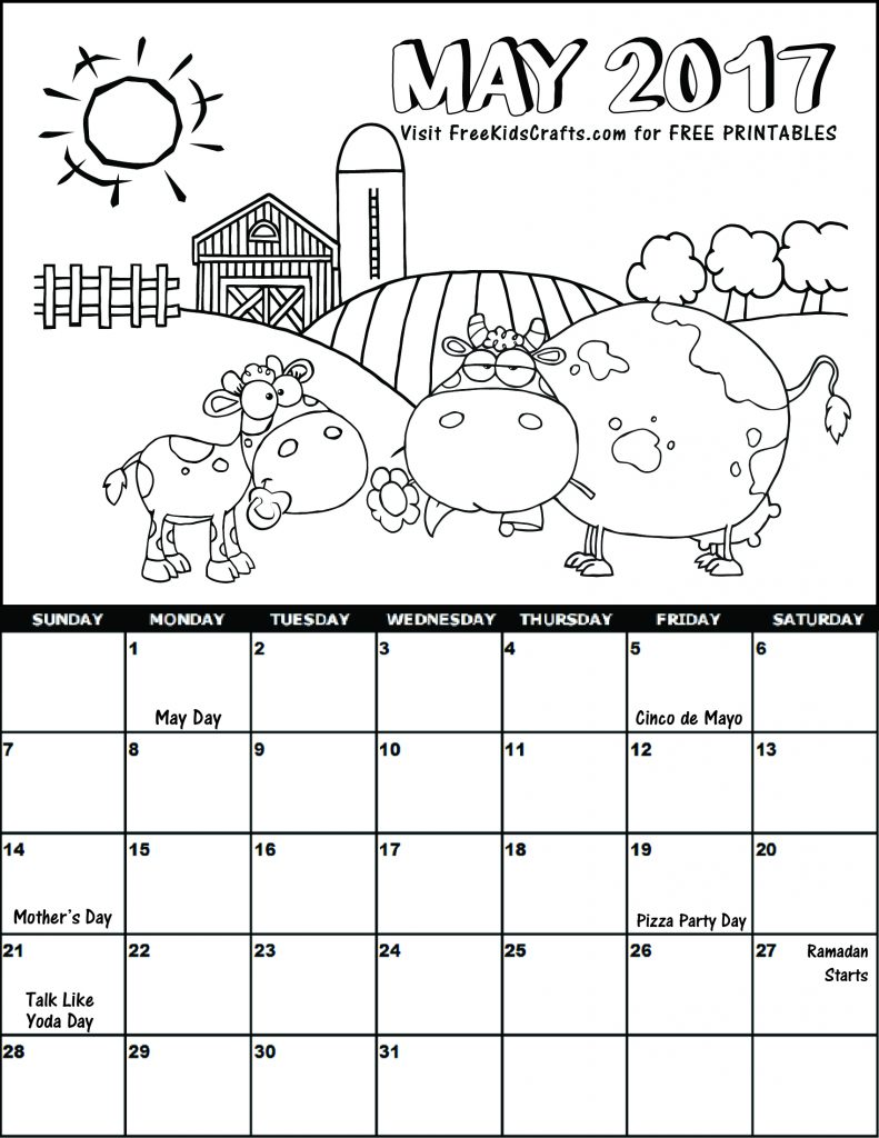 may coloring pages printable - 2017 may coloring calendar
