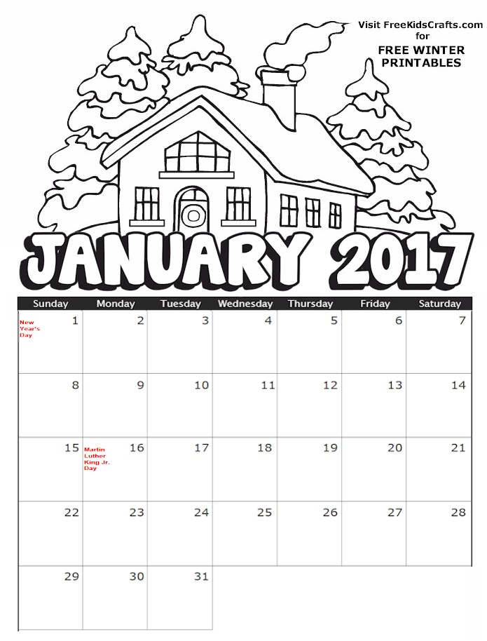 2017 Printable January Coloring Calendar