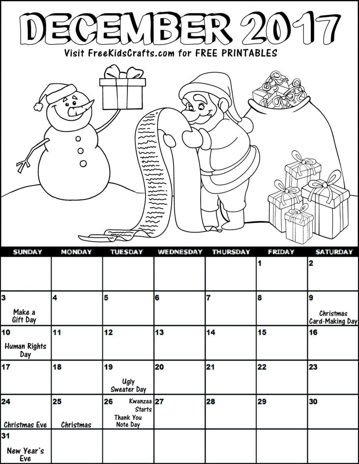 Kids 2017 Printable December Coloring Calendar