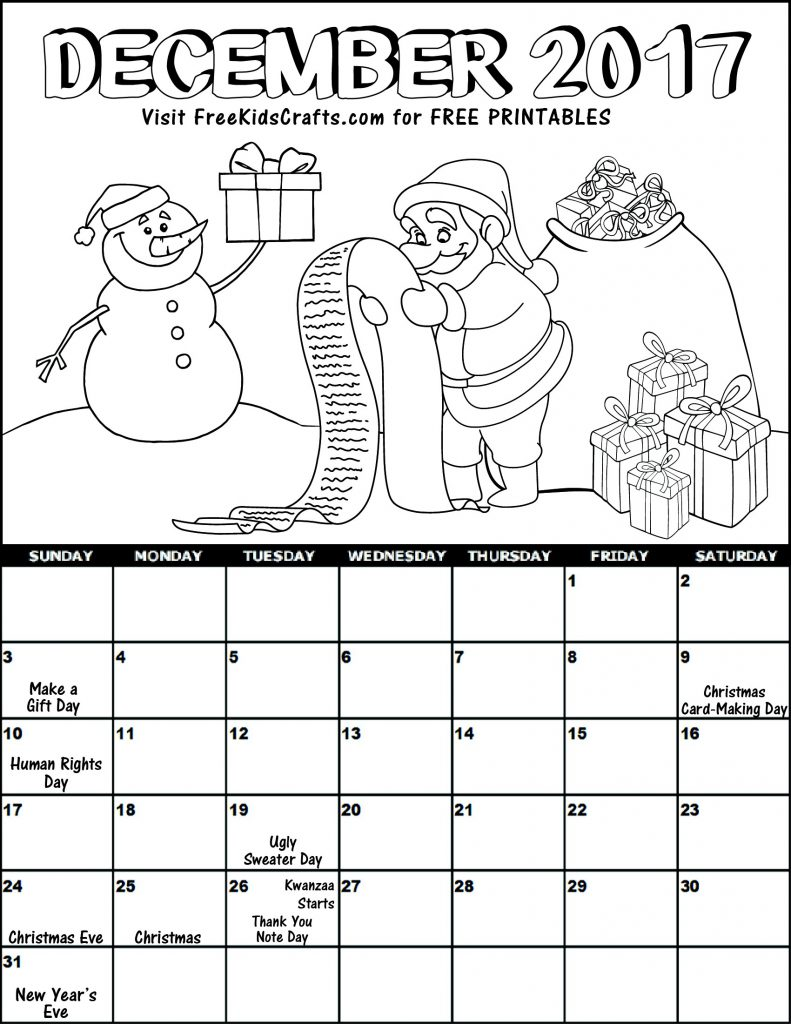 December Calendar Art : Kids printable december coloring calendar