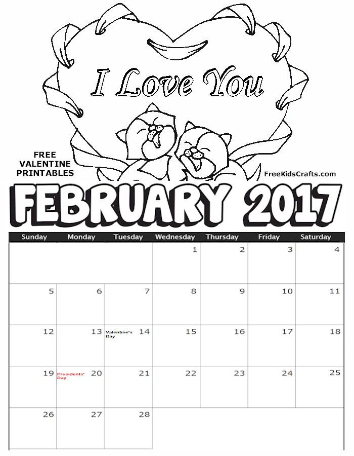 Kids Coloring Calendar : February coloring calendar