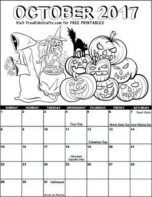 Image of 2017 October Coloring Calendar
