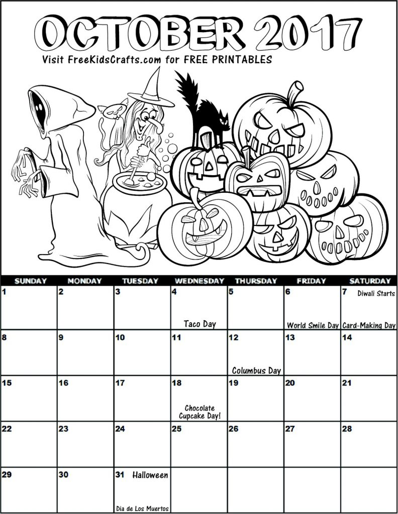 October Calendar Kindergarten : October coloring calendar