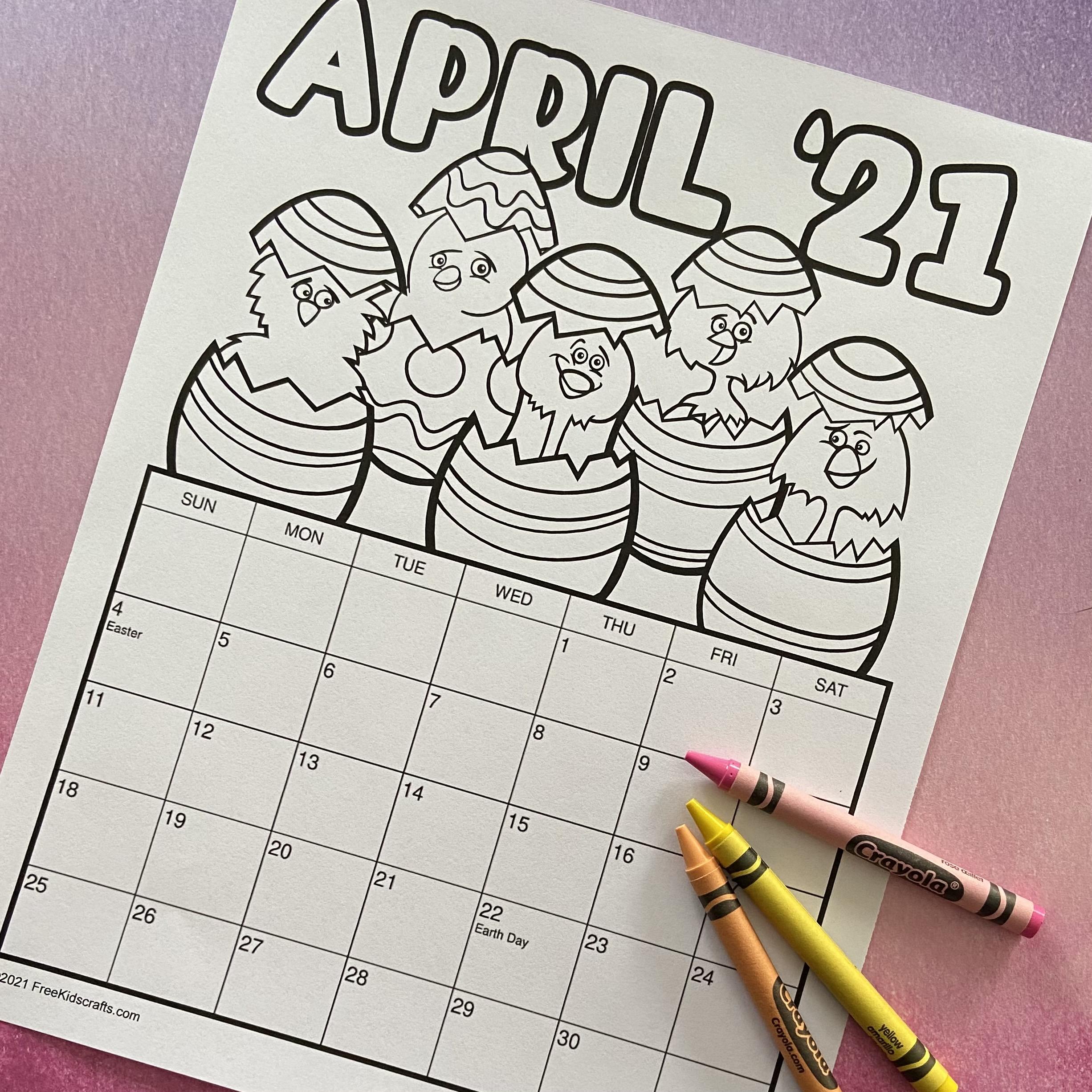 April Calendar Activity for Kids