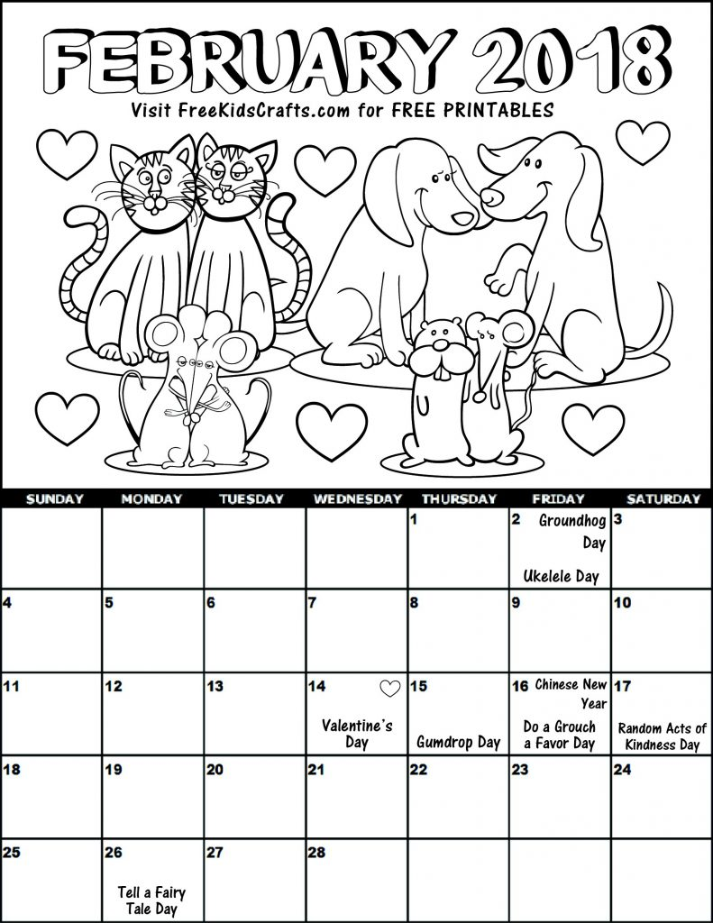 Printable 2018 February Coloring Calendar for kids