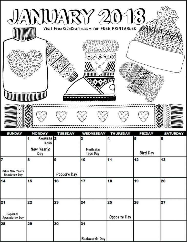 2018 Printable January Coloring Calendar