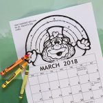 2018 Printable March Coloring Calendar