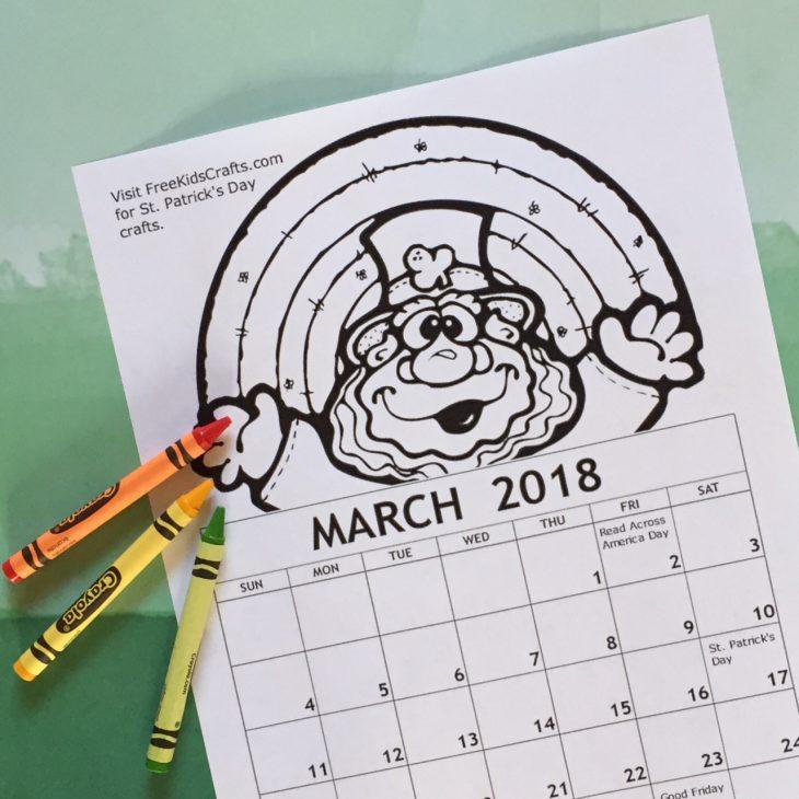 2018  Printable March Coloring Calendar