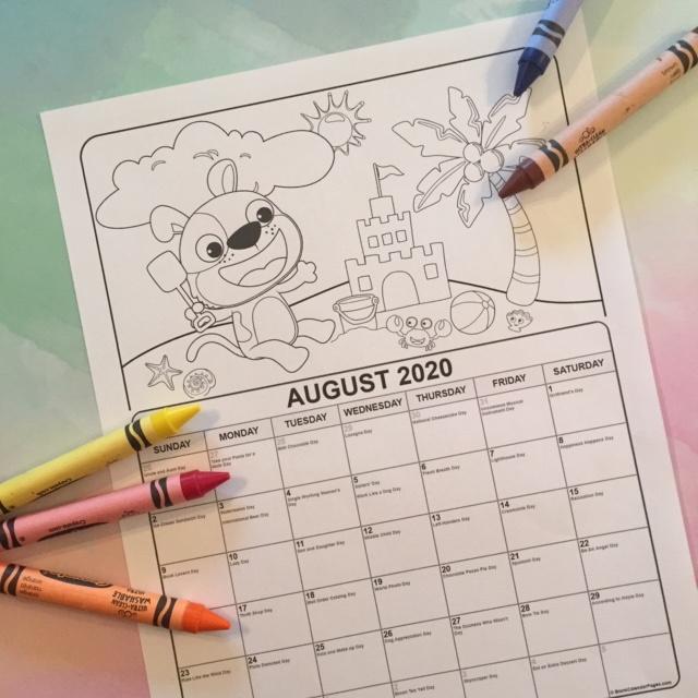 Printable August Coloring Calendar