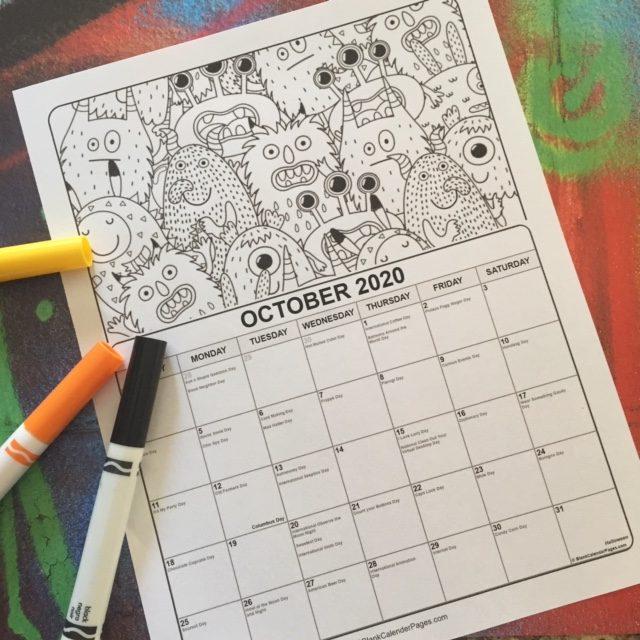 Printable October Coloring Calendar