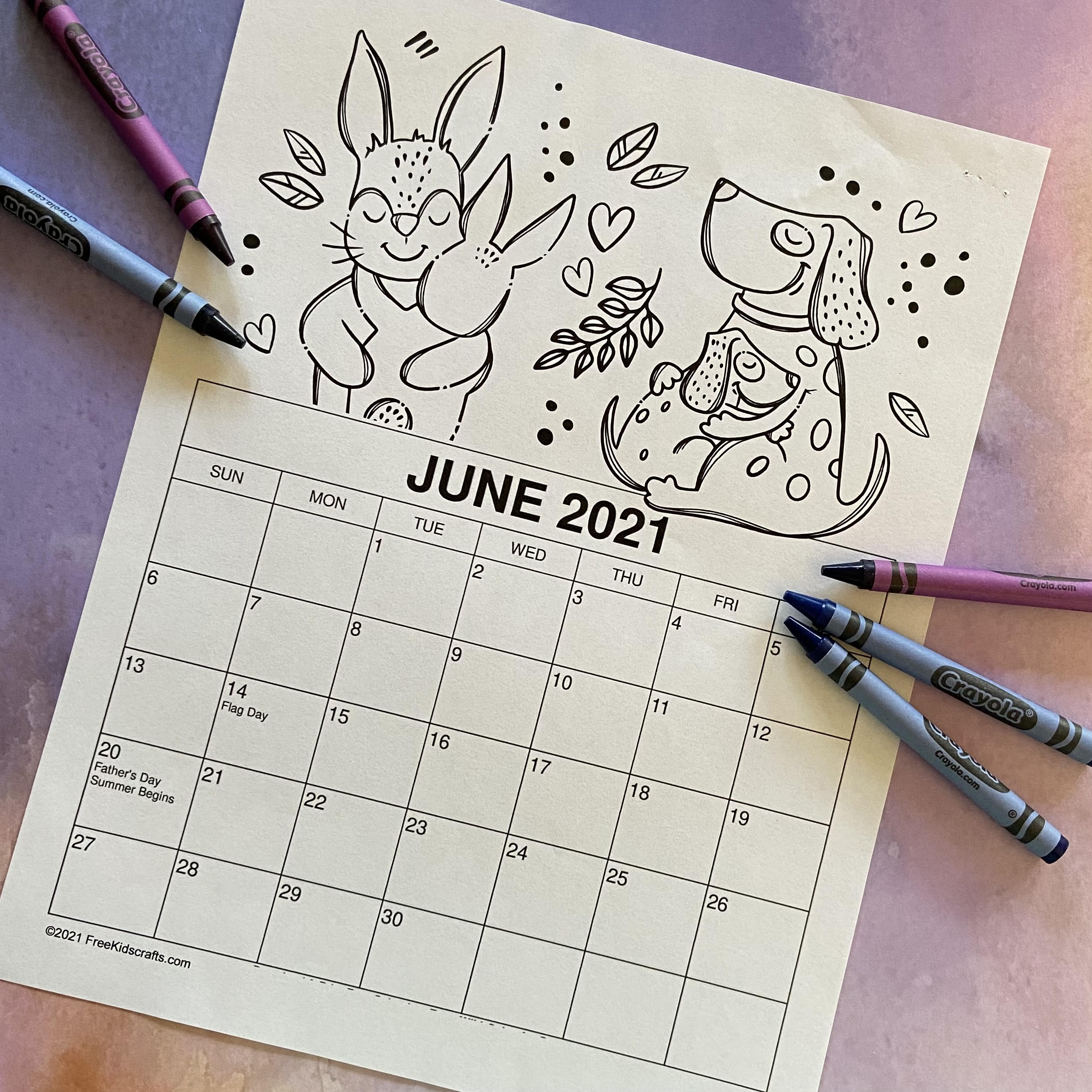 JUNE CALENDAR FOR KIDS TO USE AND COLOR
