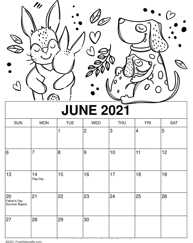 2021 printable June coloring calendar