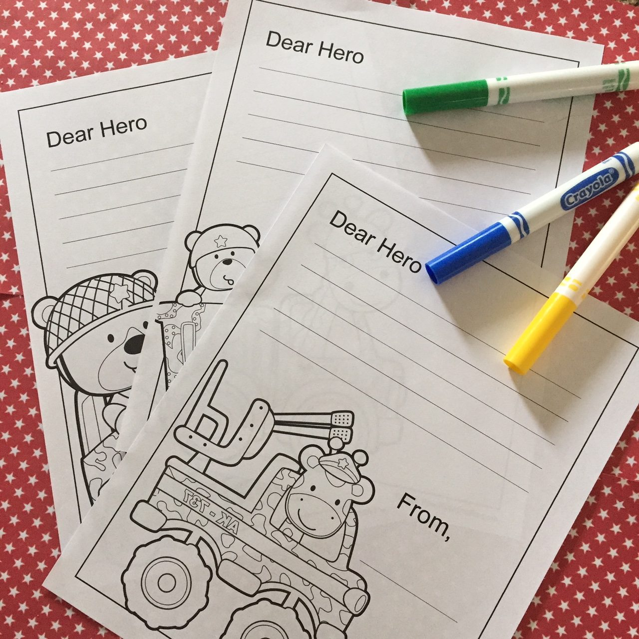 Notes to military personnel with coloring pictures.