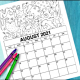 Free printable 2021 August coloring calendar for kids.