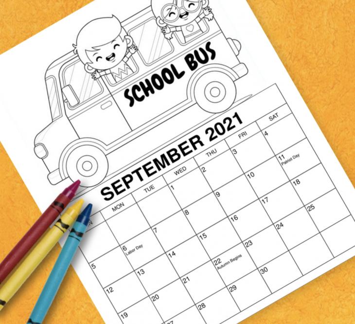 2021 Printable September Coloring Calendar