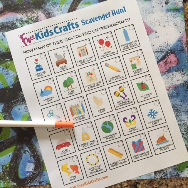 Free Kids Crafts Scavenger Hunt