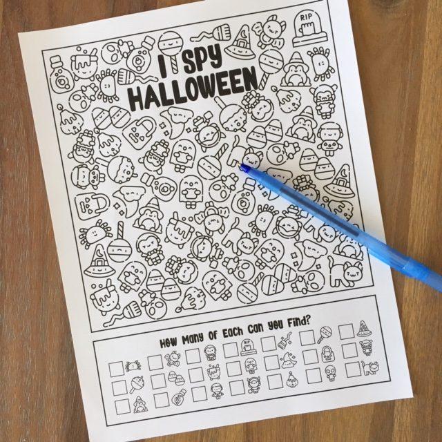 Halloween I Spy Activity Worksheet