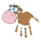 Cow picture made with a child's handprint