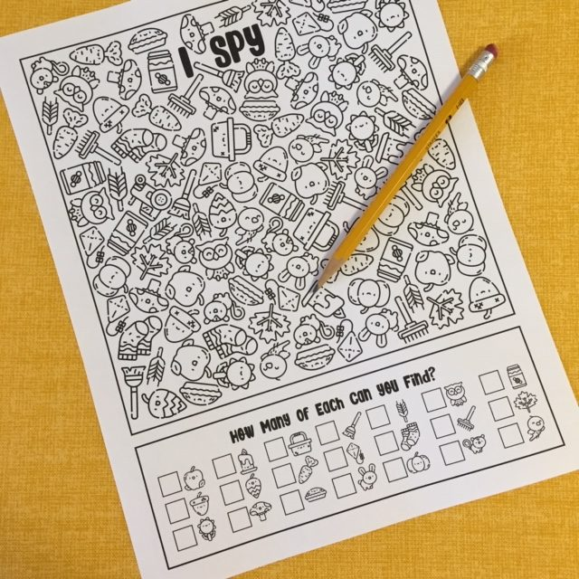 I Spy Activity Worksheet