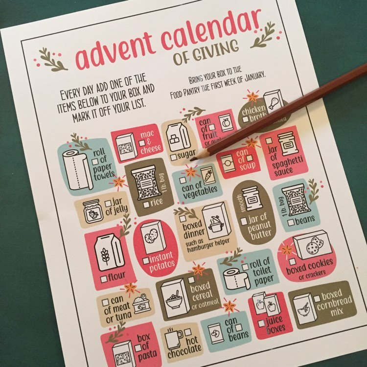 Printable Advent Calendar with 24 non perishable supplies for Food Pantries.