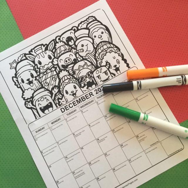 Printable December Coloring Calendar