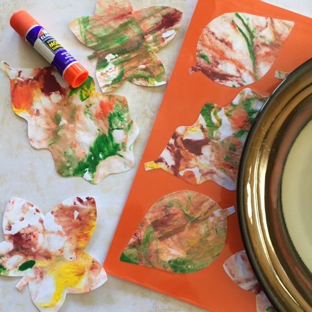 Fall Placemat made with Shaving Cream leaves