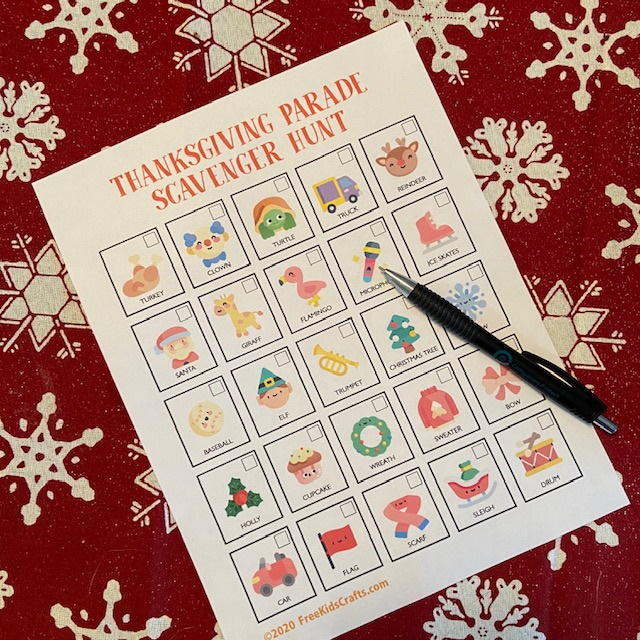 Scavenger Hunt printable for the Thanksgiving parade