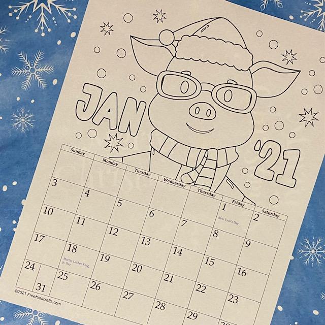 Free Printable January 2021 Coloring Calendar