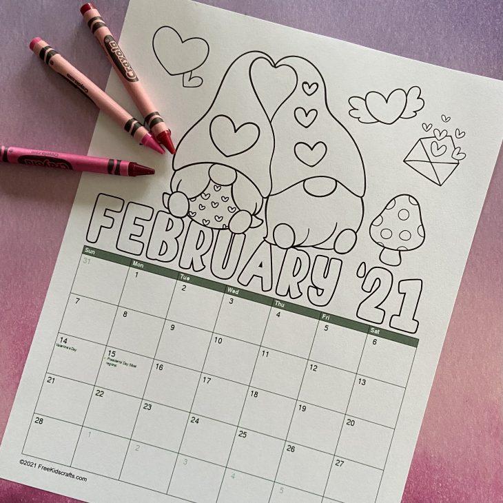 Printable February Coloring Calendar
