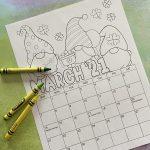March Coloring Calendar