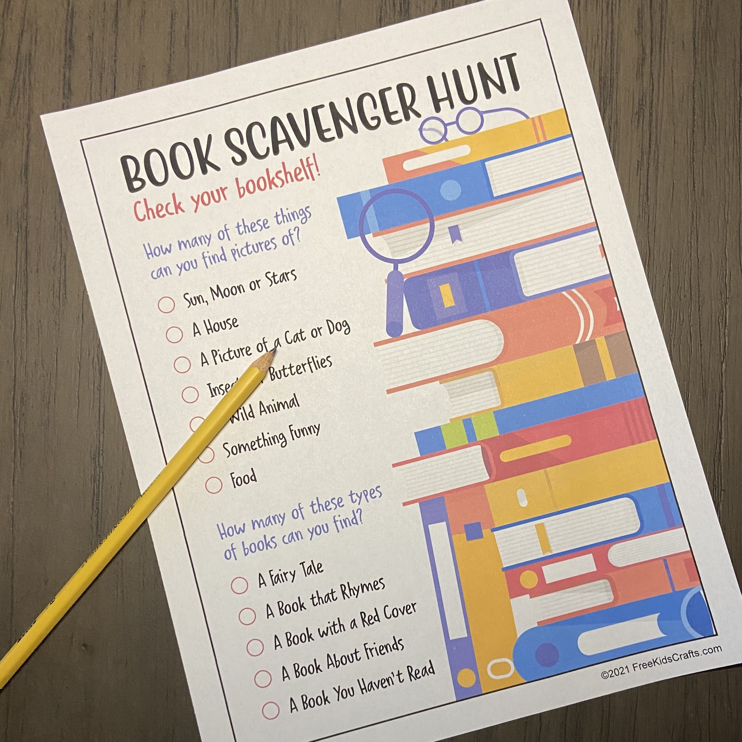 At home literary Scavenger hunt for young children