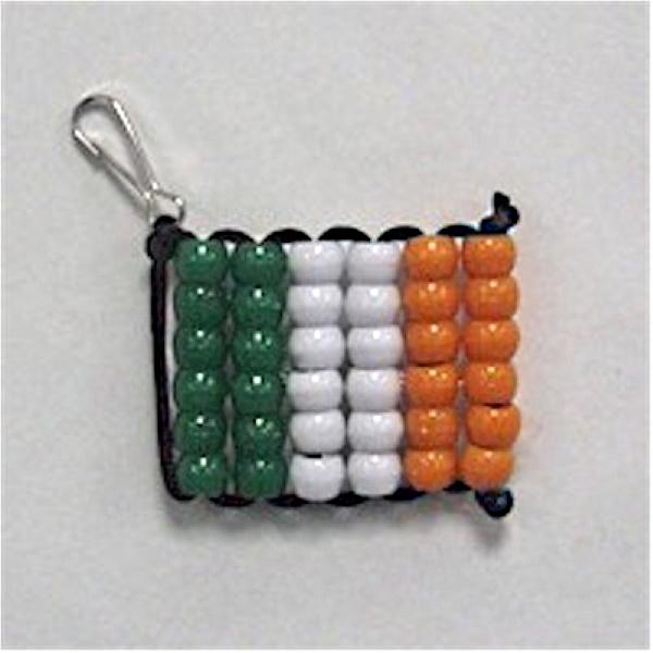 Irish flag made of green white and orange beads.