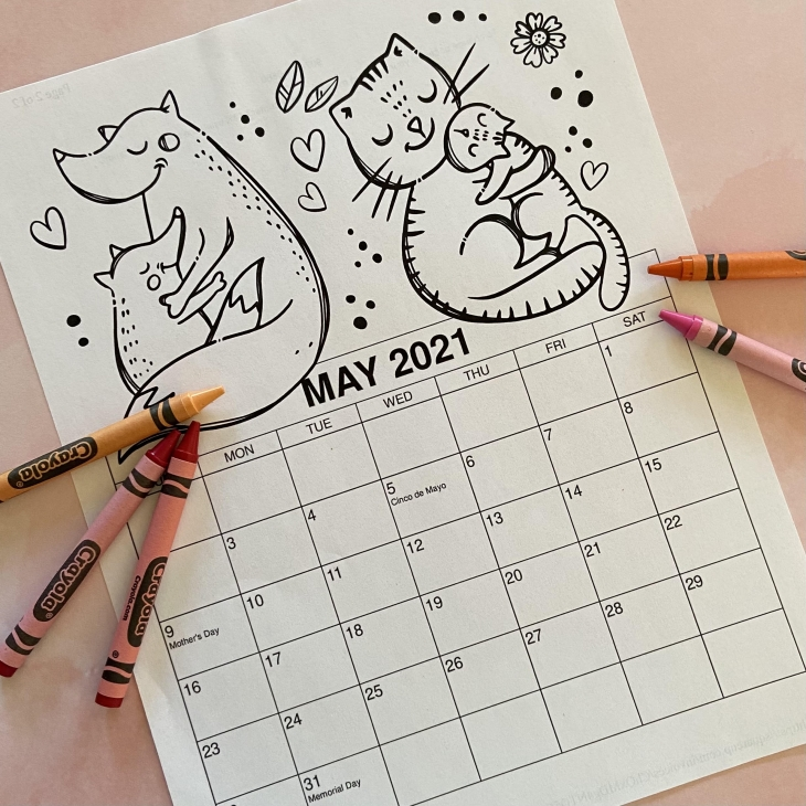 Printable May Coloring Calendar