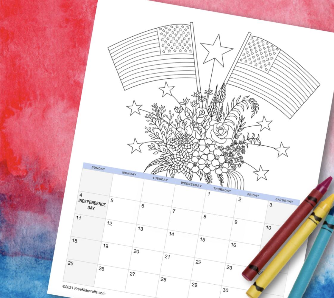 printable 2021 July coloring calendar