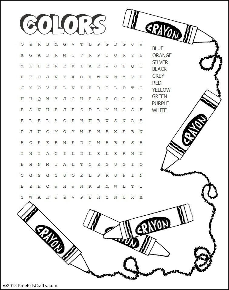 image about Free Printable Word Search for Kids referred to as Printable Colours Phrase Seem