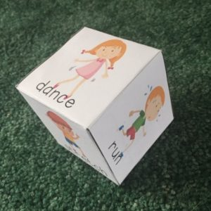 DiY Fitness cube to use to play an exercise game.