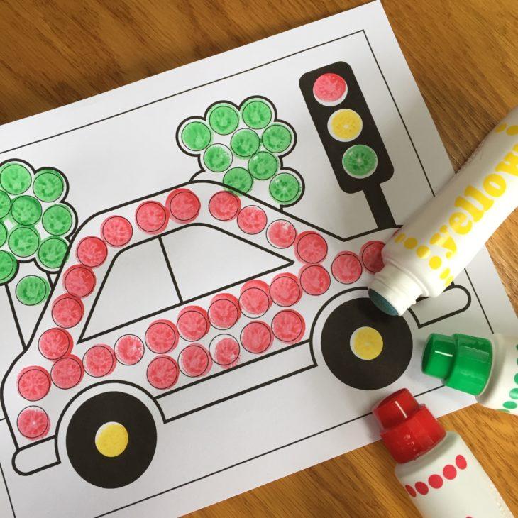 Preschool Car Dot Art Activity